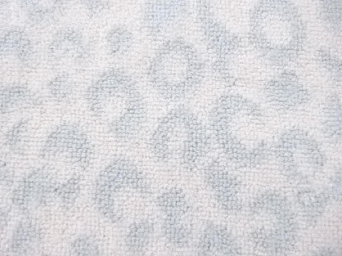 LARGE WHITE ANIMAL PRINT RUG, WHITE WITH PALE BLUE-GRAY