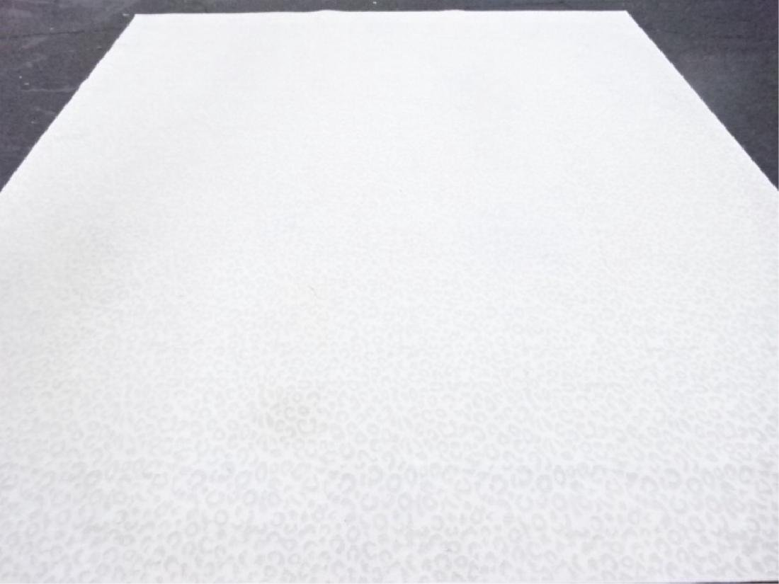 LARGE WHITE ANIMAL PRINT RUG, WHITE WITH PALE BLUE-GRAY - 2