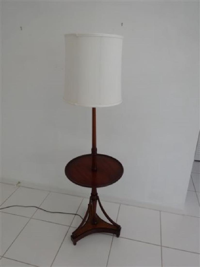MAHOGANY LAMP TABLE WITH WHITE SHADE, VERY GOOD