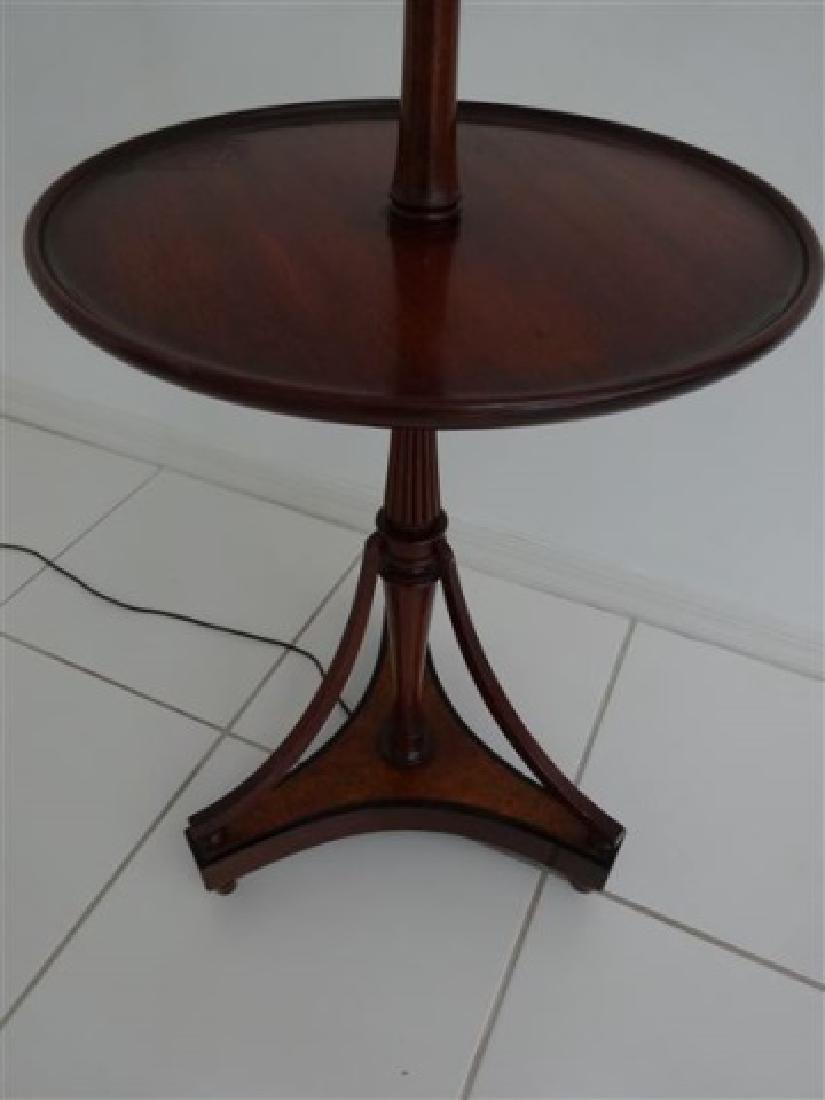 MAHOGANY LAMP TABLE WITH WHITE SHADE, VERY GOOD - 2