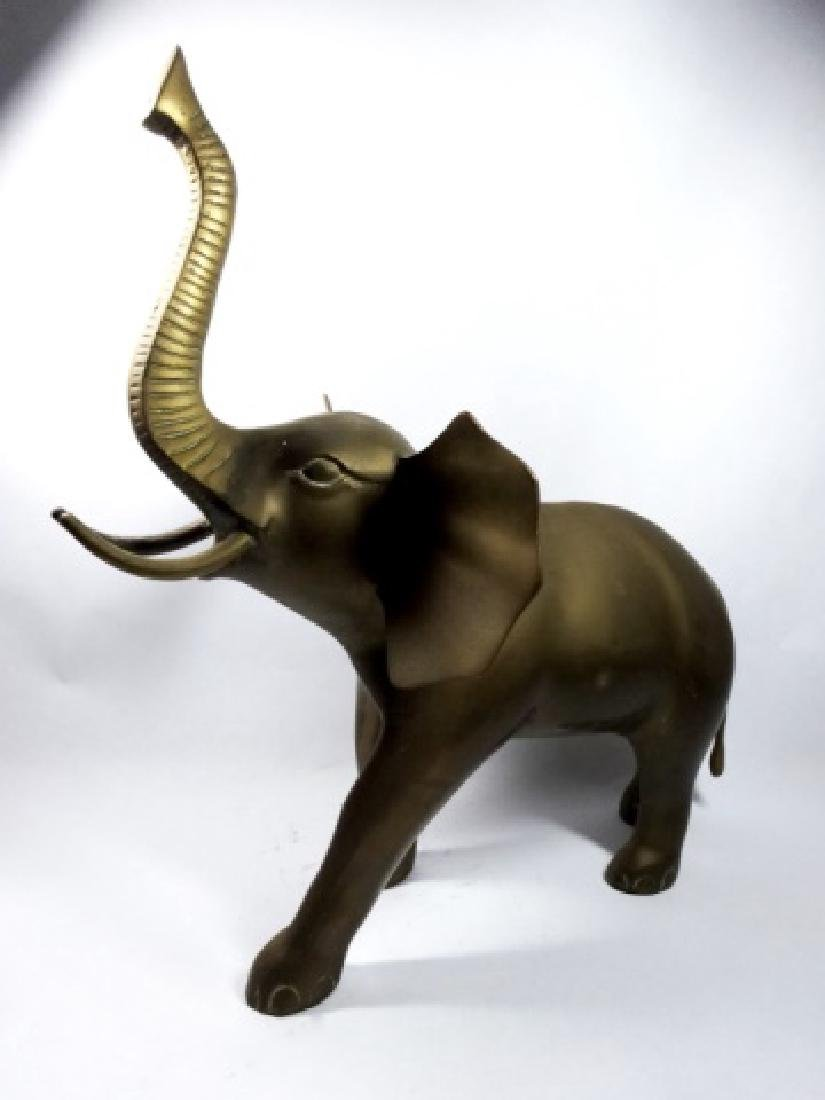 """BRASS ELEPHANT SCULPTURE, APPROX 15"""" X 12.5"""" - 3"""