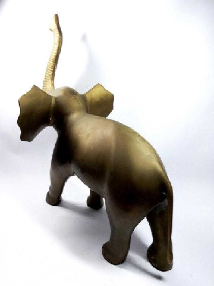 """BRASS ELEPHANT SCULPTURE, APPROX 15"""" X 12.5"""" - 4"""