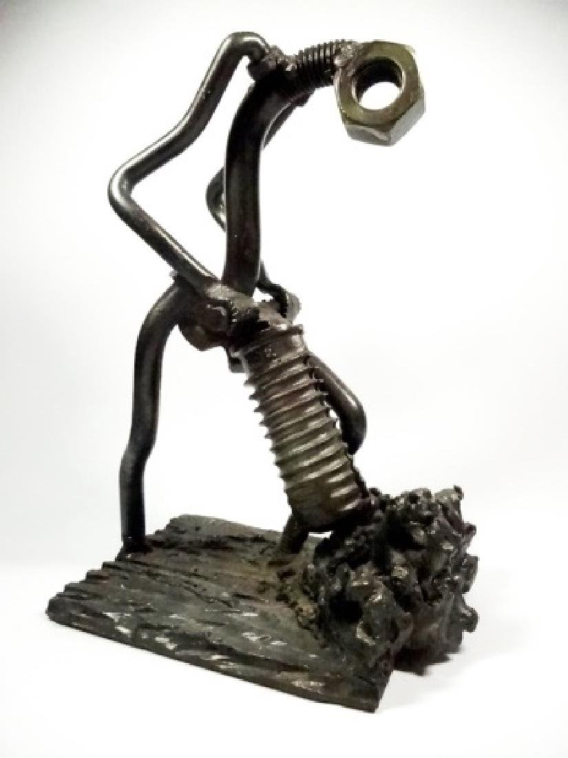 SIGNED METAL SCULPTURE, NUTS & BOLTS, JACKHAMMER MAN