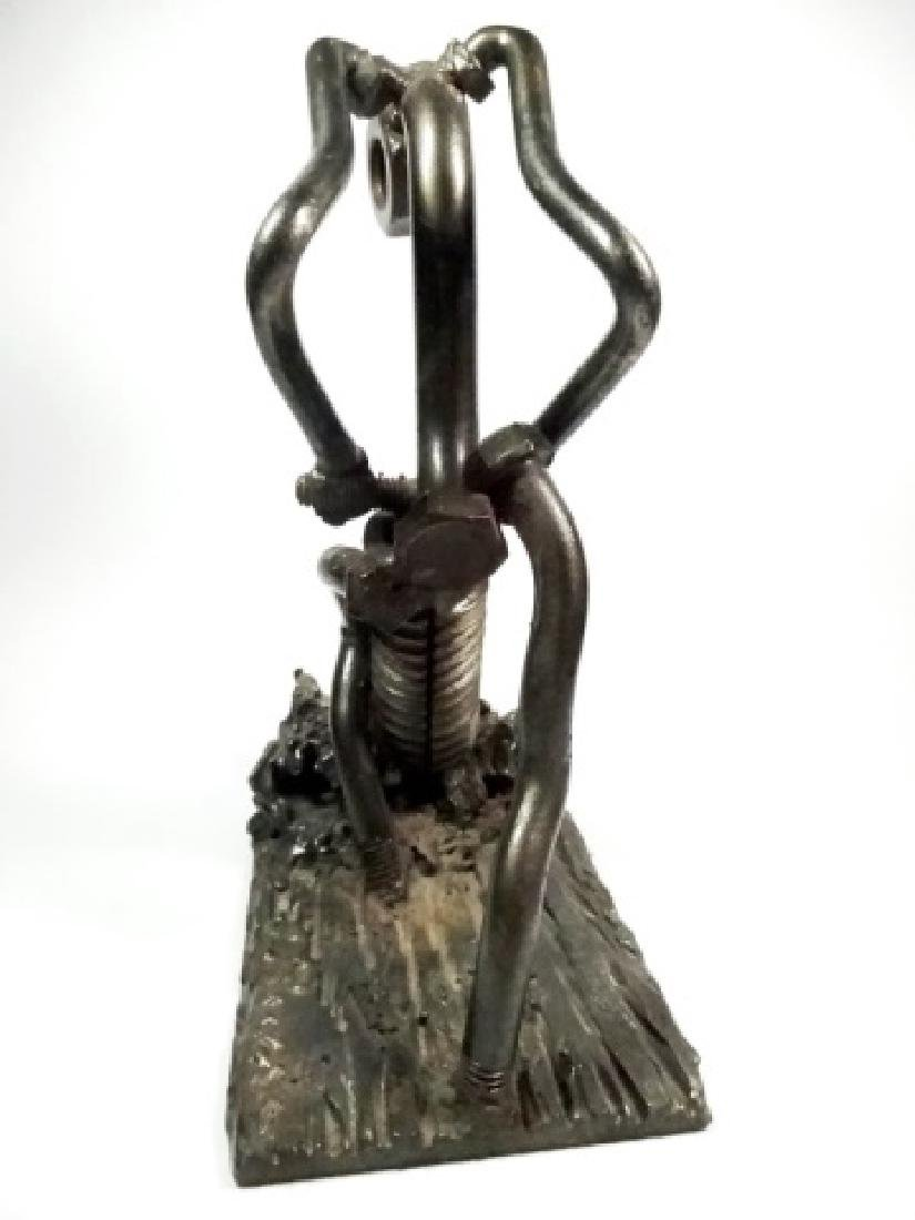 SIGNED METAL SCULPTURE, NUTS & BOLTS, JACKHAMMER MAN - 6