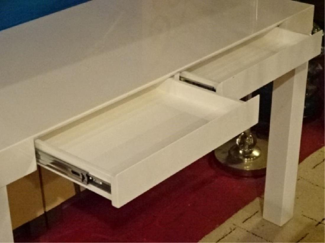 CONTEMPORARY WHITE DESK, PARSONS STYLE LEGS, 2 DRAWERS, - 3