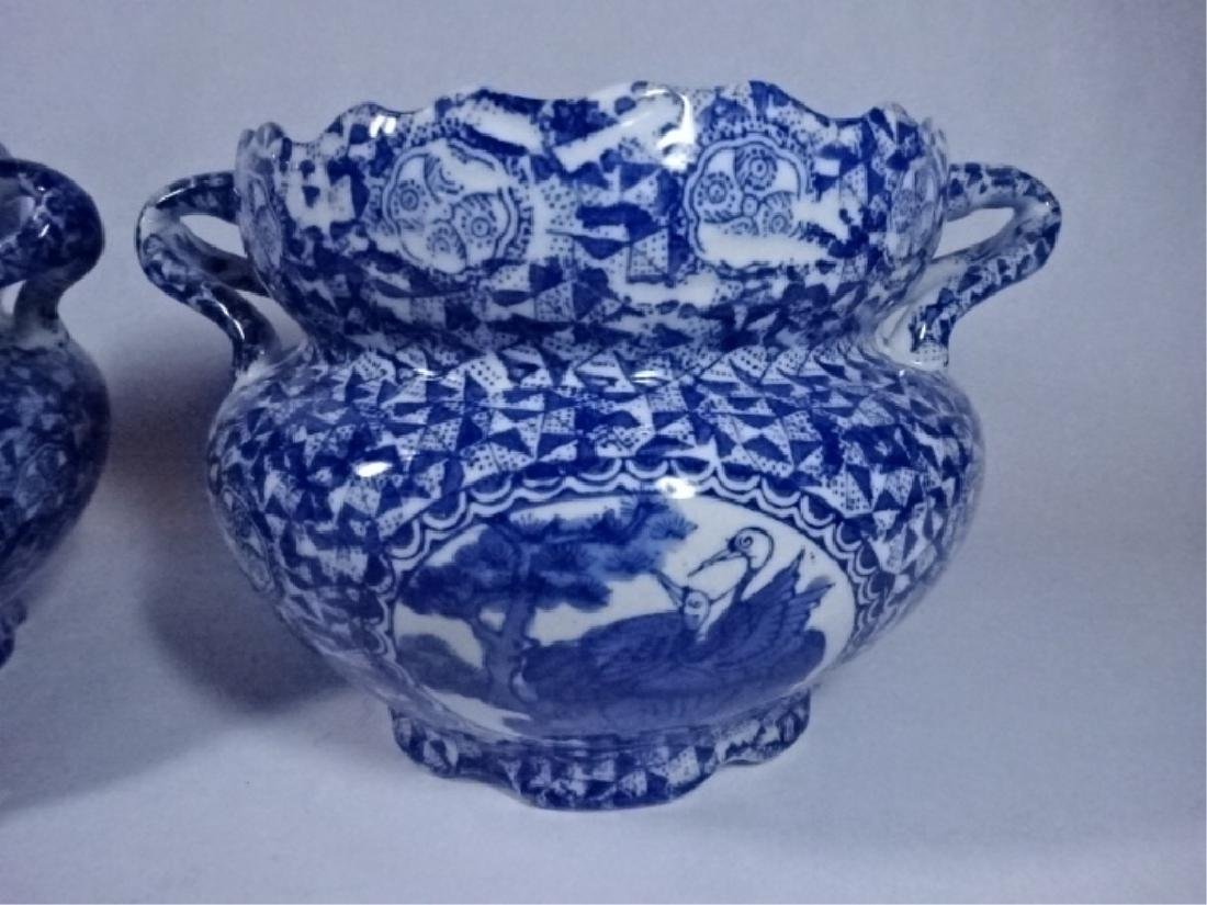 2 BLUE AND WHITE CHINESE PORCELAIN BOWLS WITH DUAL - 4