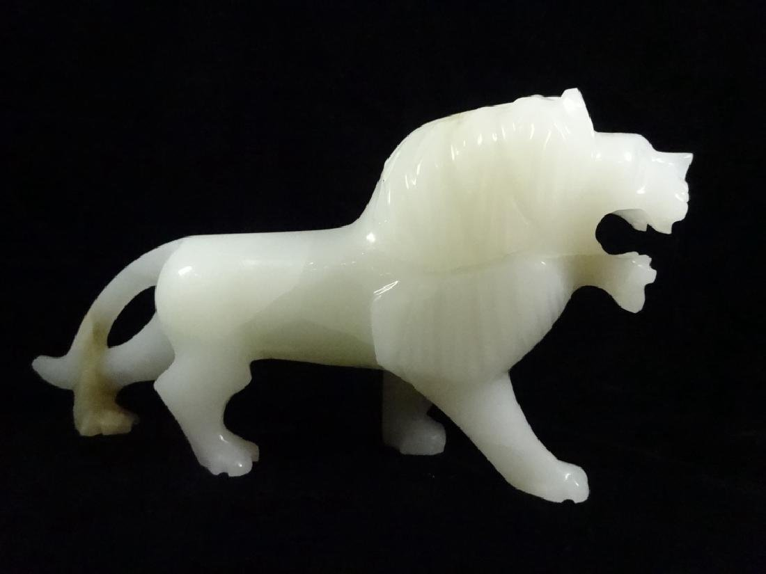 """CARVED STONE LION, APPROX 7.25"""" X 14.75"""" - 5"""