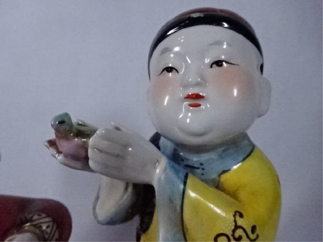 2 CHINESE PORCELAIN SCULPTURES, BOY WITH BIRD AND BOY - 5