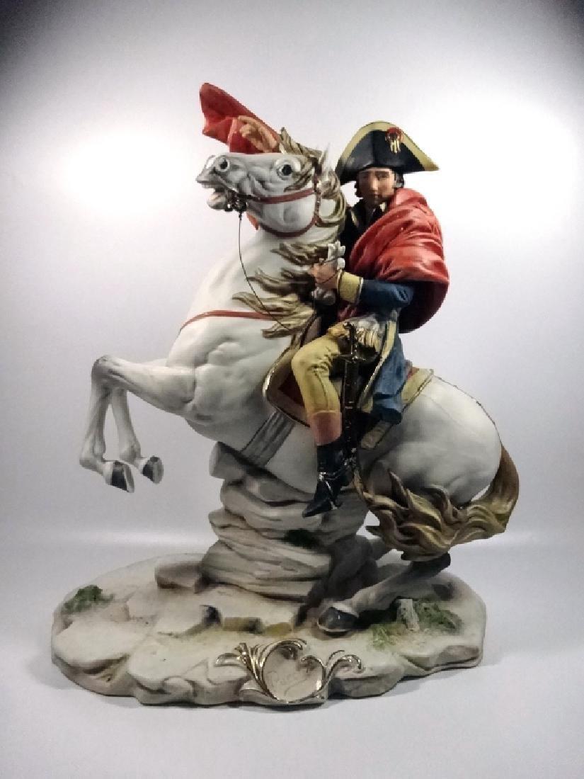 CAPODIMONTE PORCELAIN SCULPTURE, NAPOLEON ON HORSEBACK,