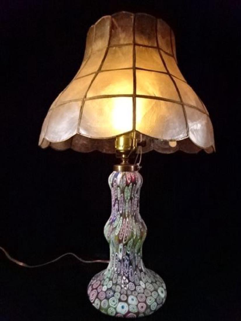 MILLEFIORI VENETIAN ART GLASS LAMP, CAPIZ SHELL SHADE,