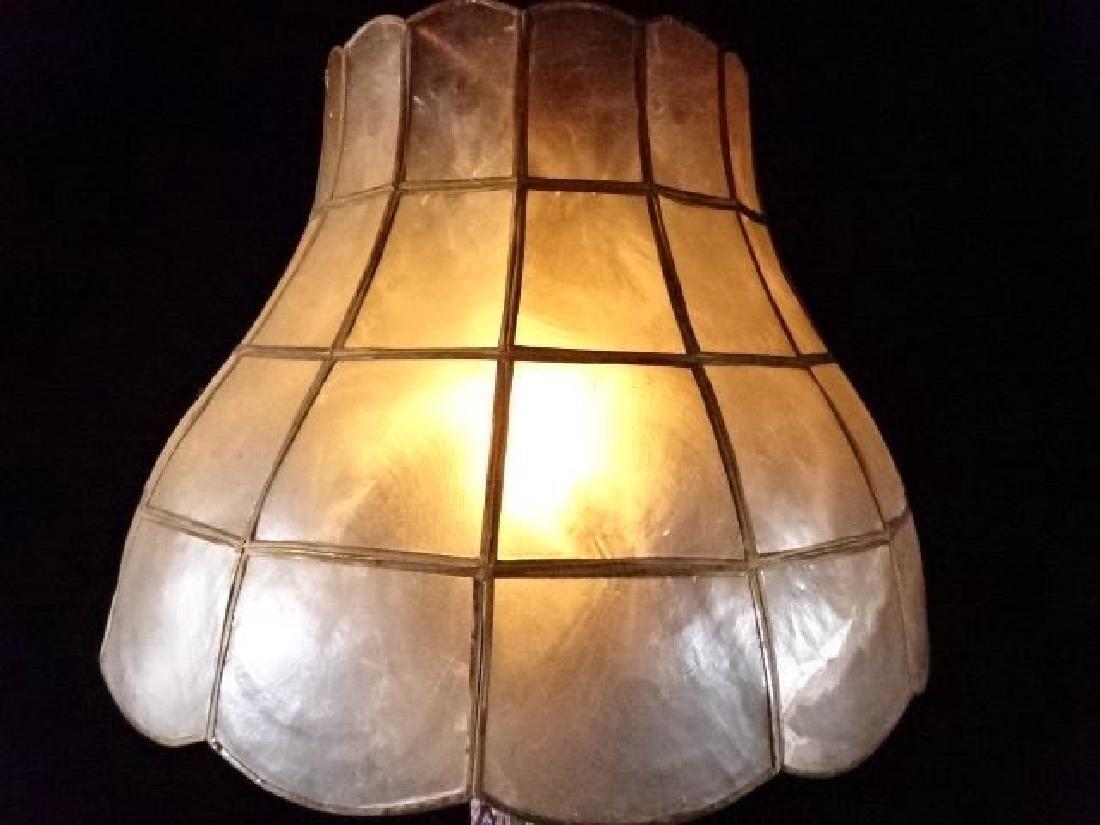 MILLEFIORI VENETIAN ART GLASS LAMP, CAPIZ SHELL SHADE, - 5