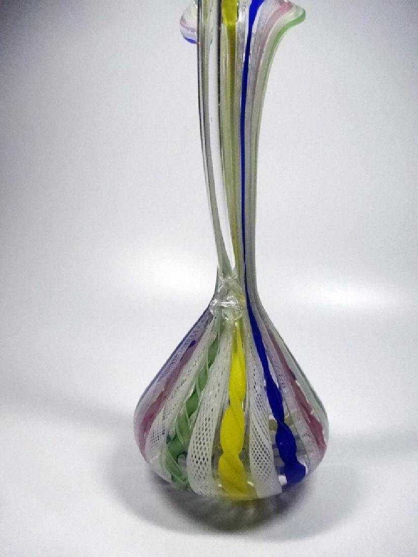 VINTAGE ITALIAN VENETIAN MURANO GLASS EWER, CLEAR WITH - 4