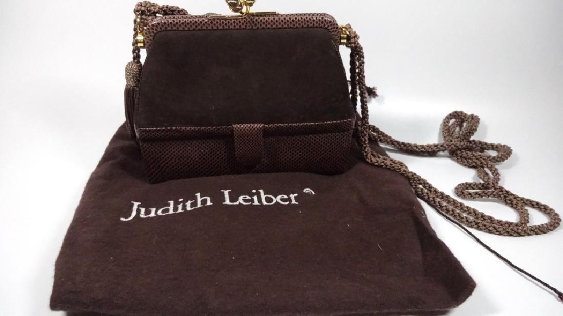 JUDITH LEIBER PURSE / HANDBAG, DARK BROWN LEATHER, BOX - 3