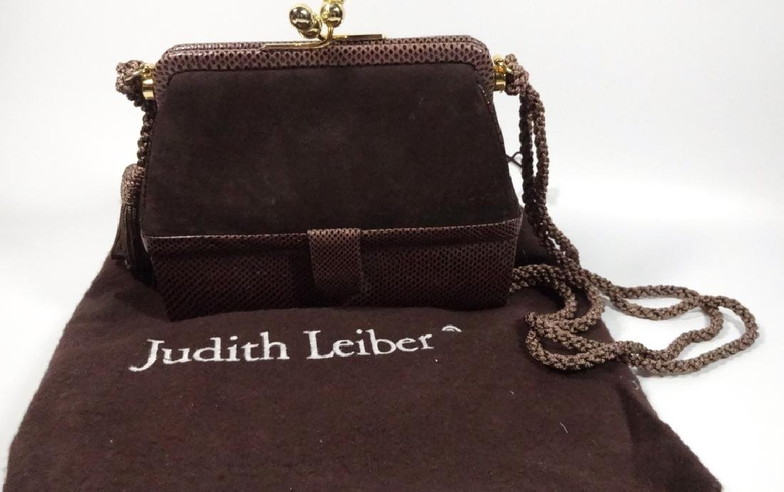 JUDITH LEIBER PURSE / HANDBAG, DARK BROWN LEATHER, BOX - 4