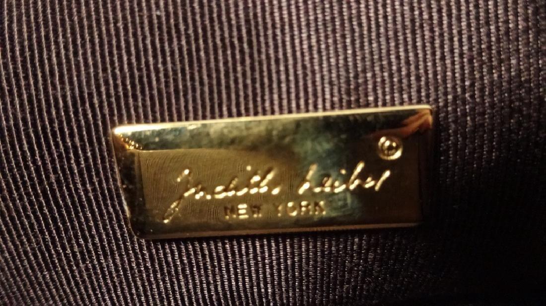 JUDITH LEIBER PURSE / HANDBAG, DARK BROWN LEATHER, BOX - 9