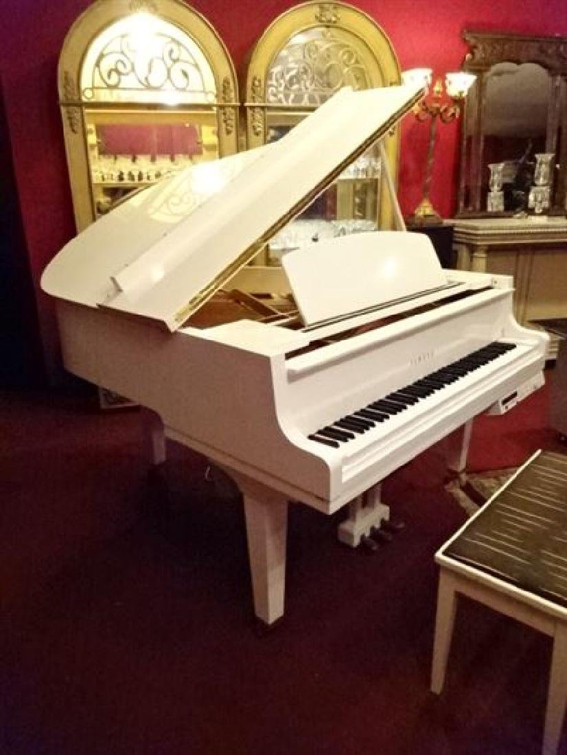 YAMAHA GH1 WHITE BABY GRAND PLAYER PIANO, POLISHED