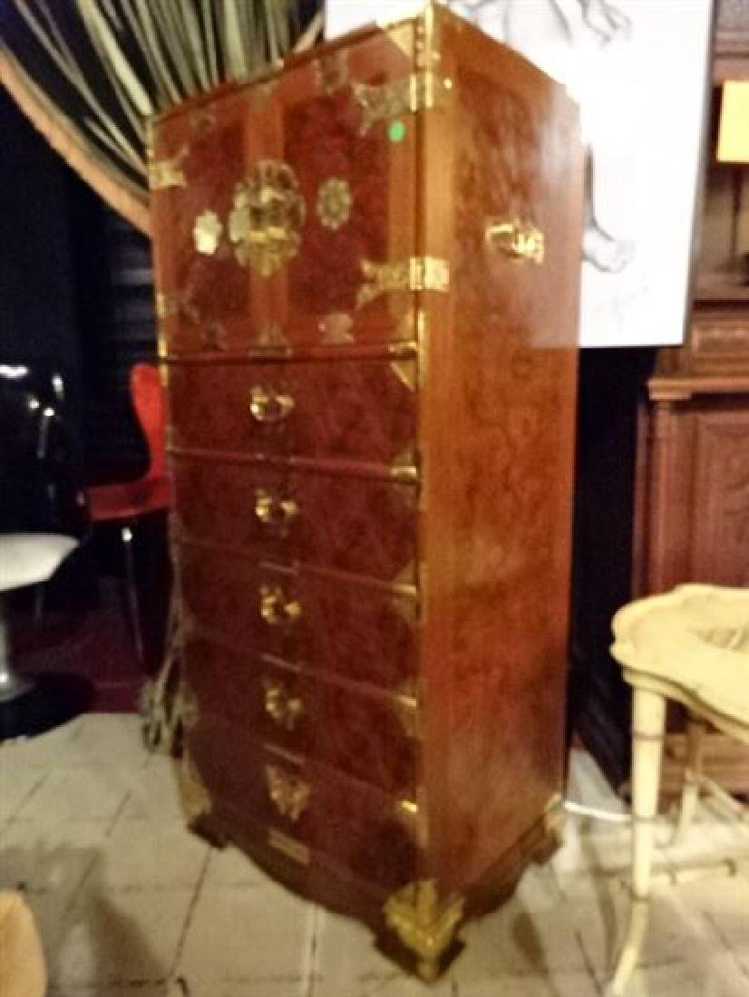 CHINESE BURL WOOD 11 DRAWER CHEST, 2 UPPER DOORS WITH 6 - 5