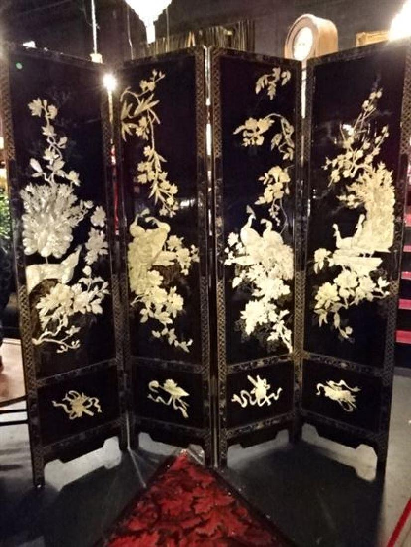 4 PANEL CHINESE COROMANDEL SCREEN, CARVED MOTHER OF
