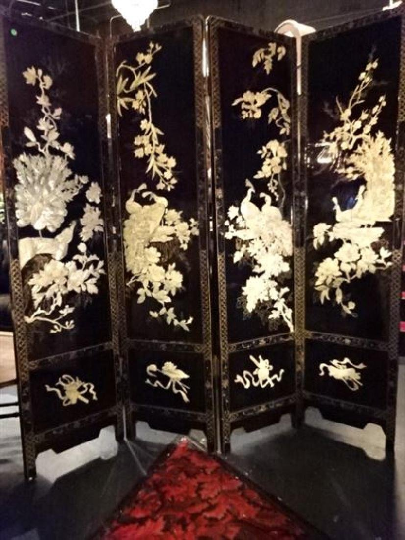 4 PANEL CHINESE COROMANDEL SCREEN, CARVED MOTHER OF - 2