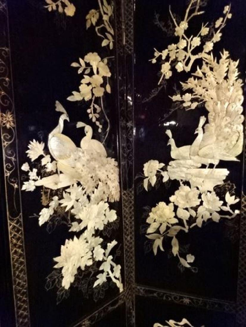 4 PANEL CHINESE COROMANDEL SCREEN, CARVED MOTHER OF - 5