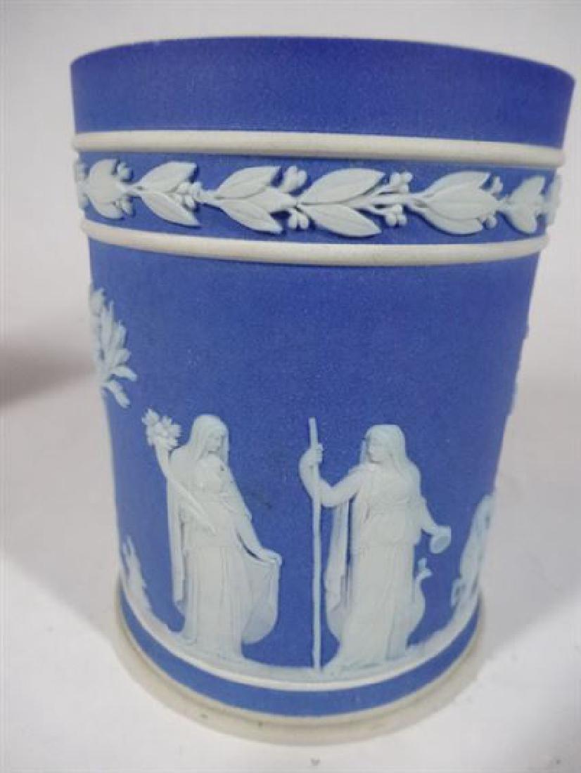 2 WEDGWOOD JASPERWARE PORCELAIN VASES, BLUE AND WHITE, - 3