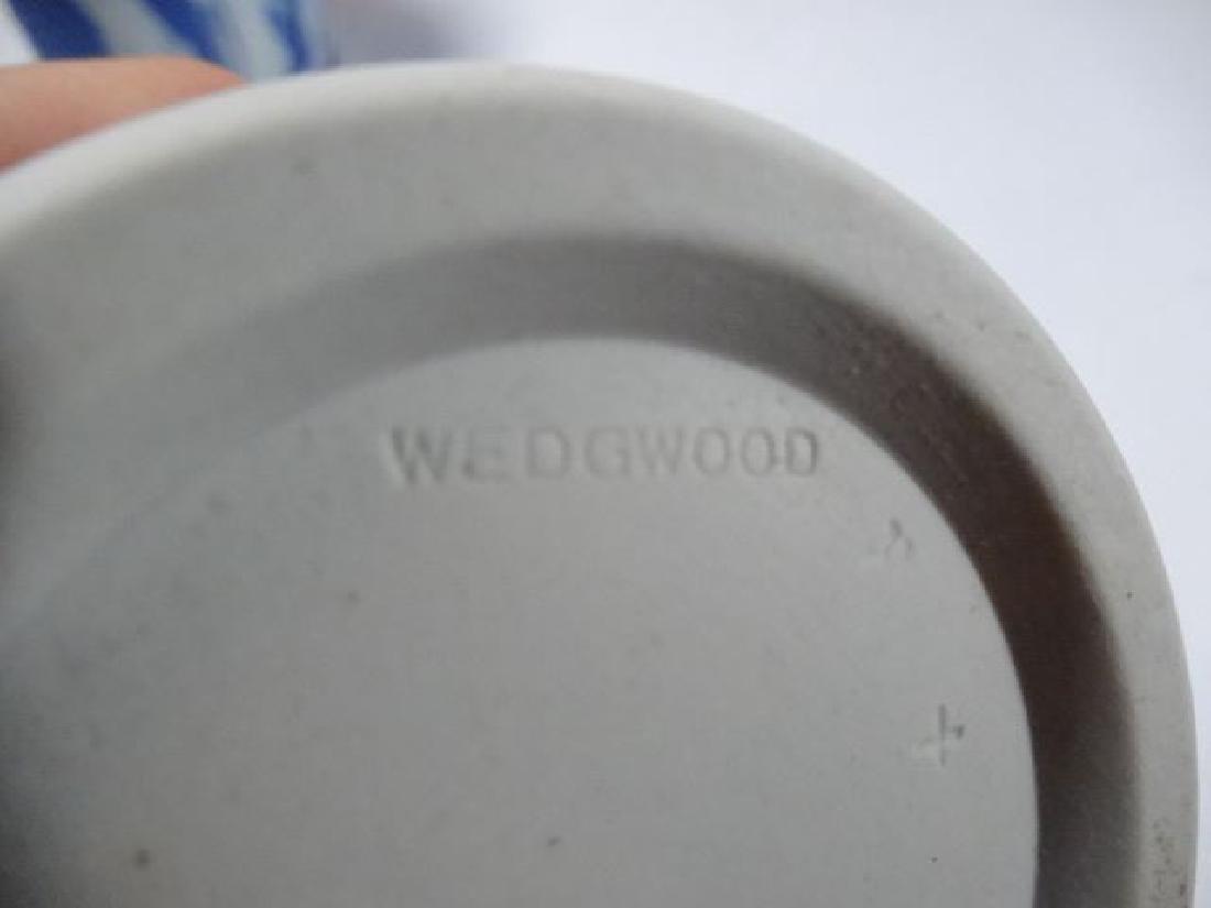 2 WEDGWOOD JASPERWARE PORCELAIN VASES, BLUE AND WHITE, - 5