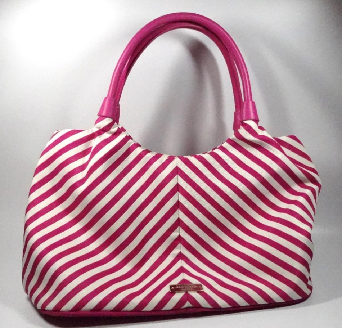 KATE SPADE PURSE / HANDBAG, PINK & WHITE STRIPED - 10