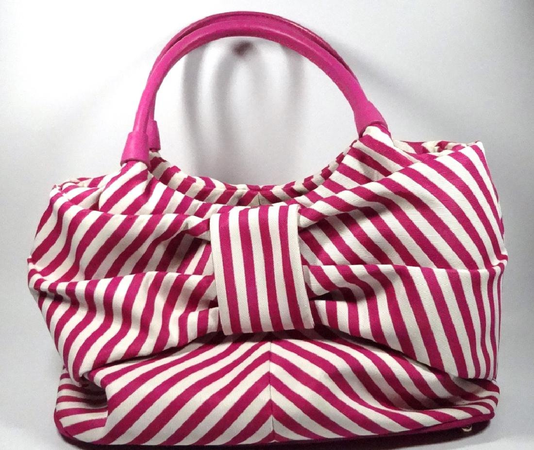 KATE SPADE PURSE / HANDBAG, PINK & WHITE STRIPED
