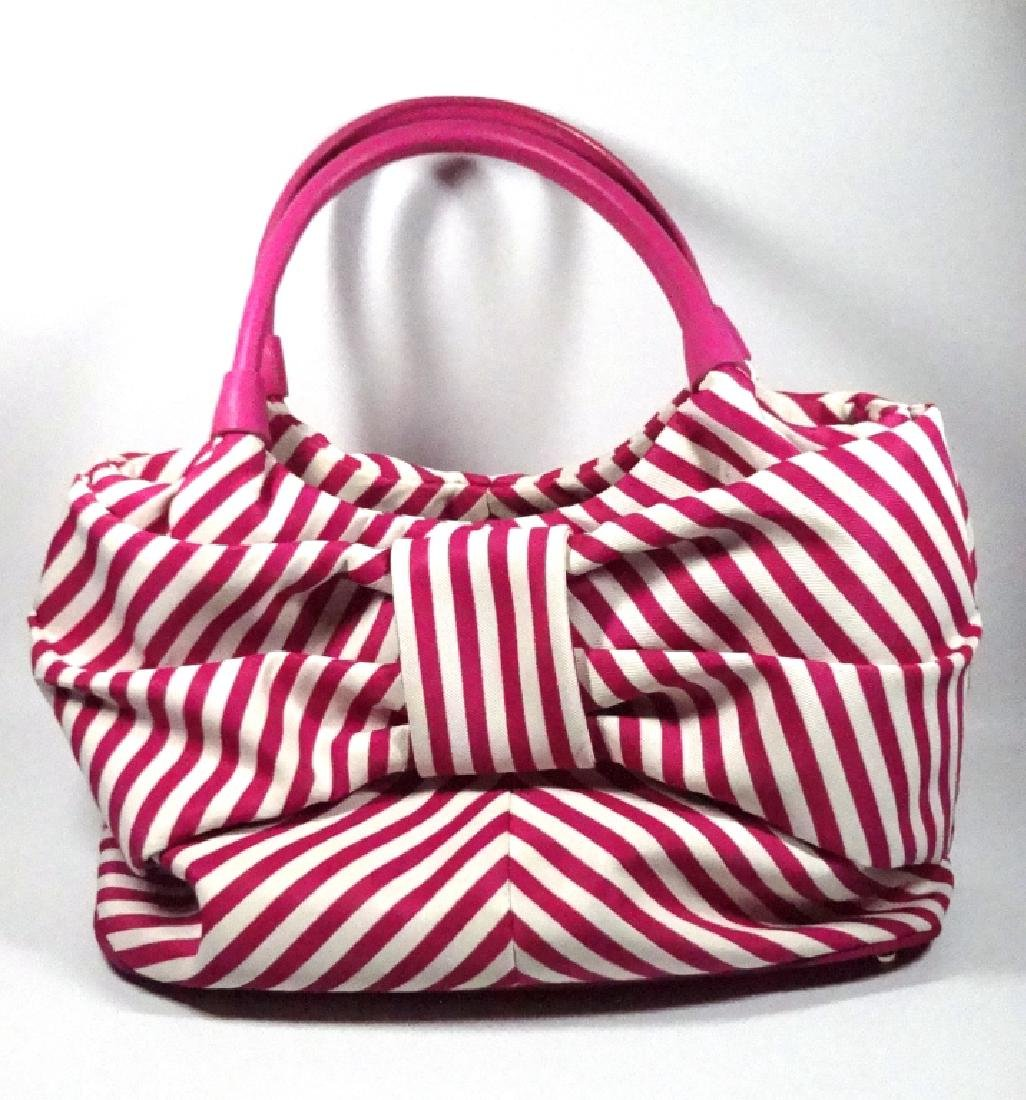 KATE SPADE PURSE / HANDBAG, PINK & WHITE STRIPED - 3