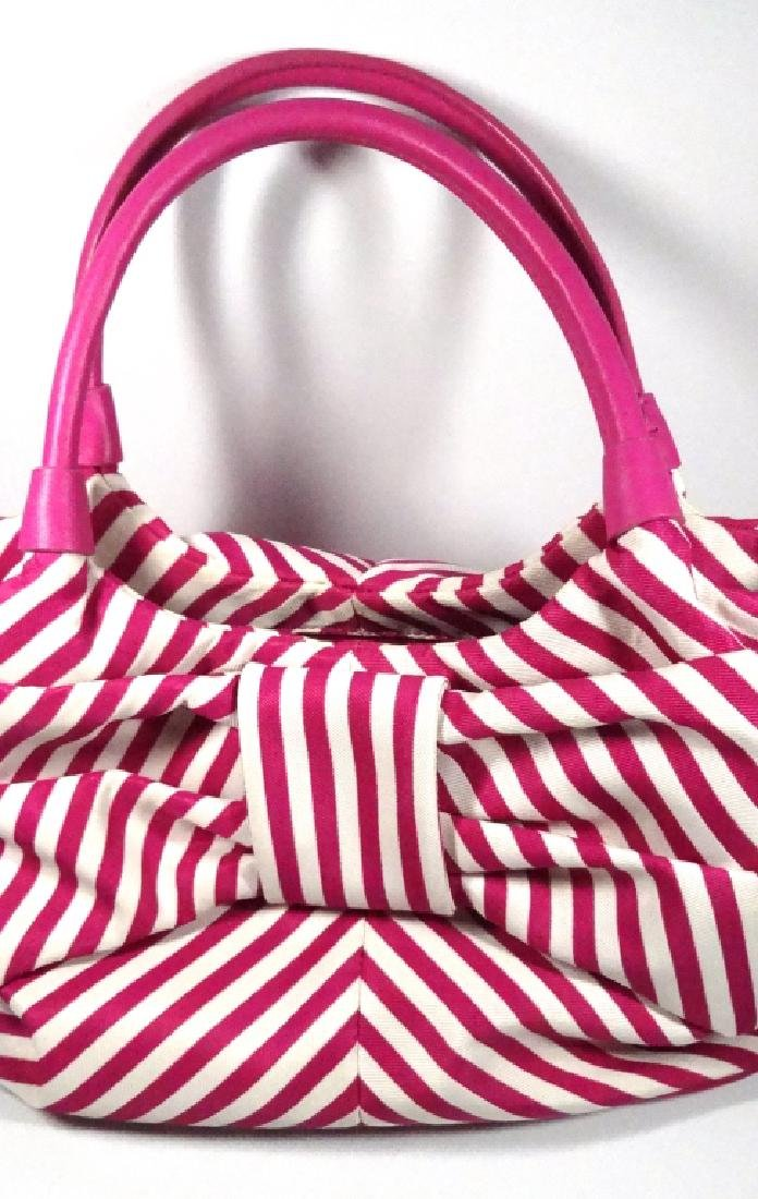 KATE SPADE PURSE / HANDBAG, PINK & WHITE STRIPED - 4