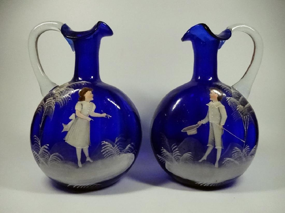 PAIR ANTIQUE COBALT GLASS PITCHERS, HANDPAINTED WITH