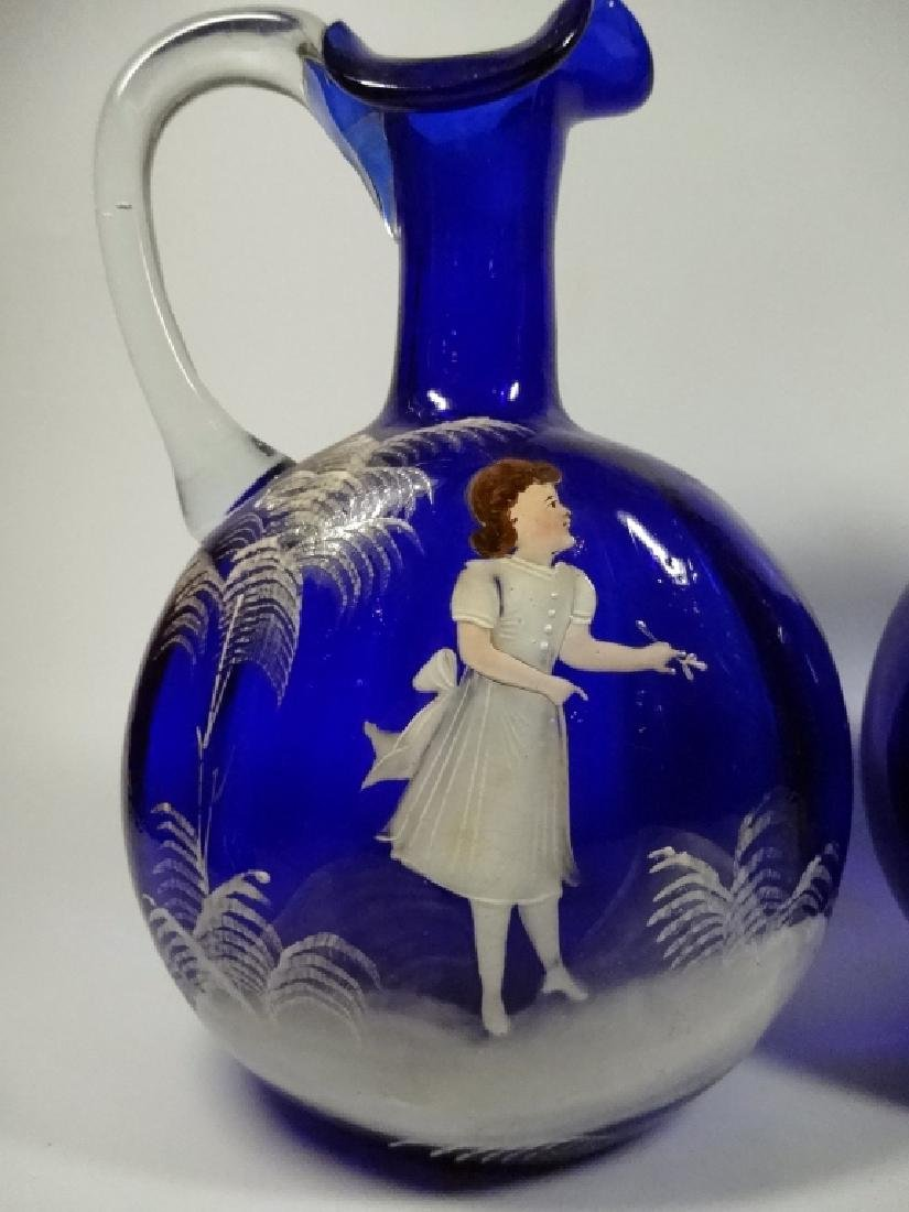 PAIR ANTIQUE COBALT GLASS PITCHERS, HANDPAINTED WITH - 2