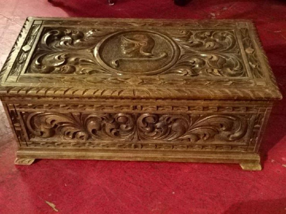 CARVED WOOD CHEST WITH KNIGHT'S ARMOR AND CARVED - 2