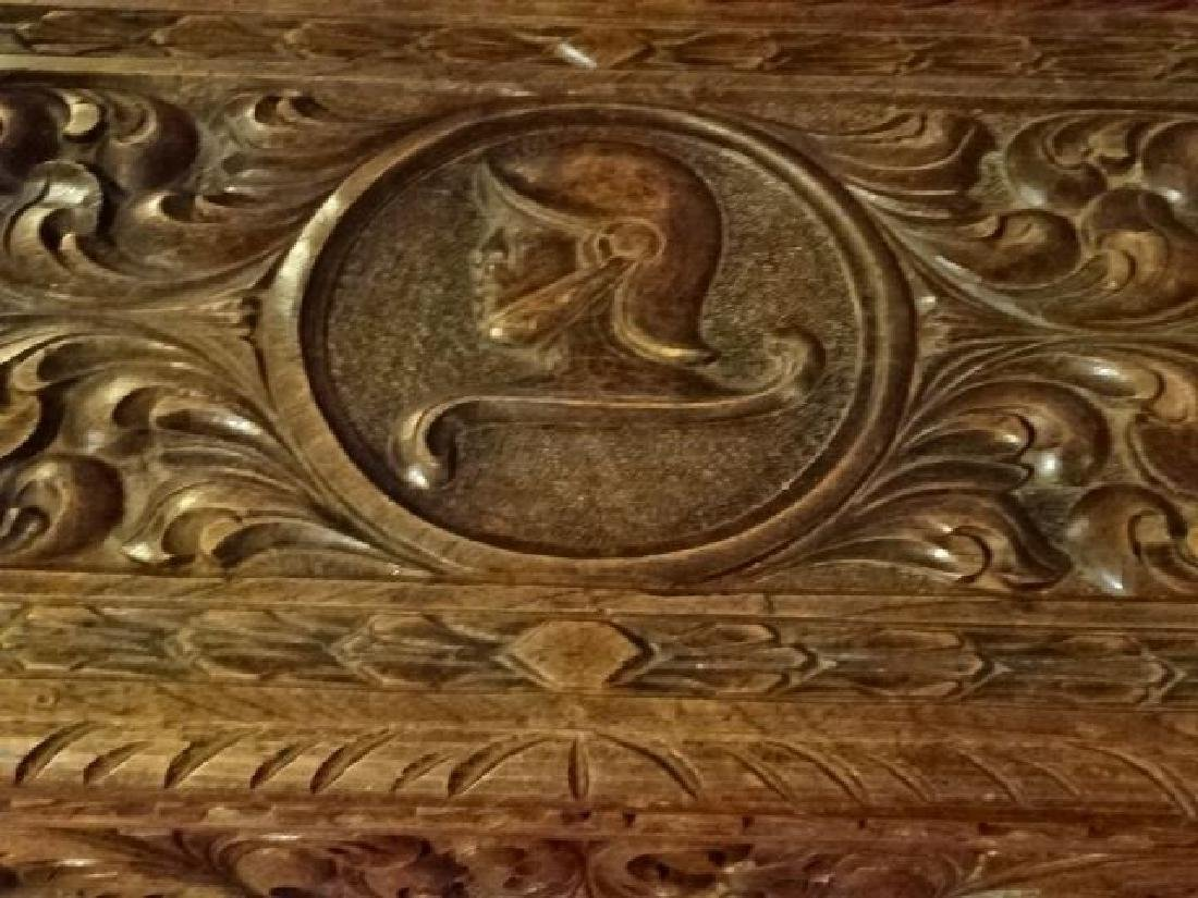 CARVED WOOD CHEST WITH KNIGHT'S ARMOR AND CARVED - 3