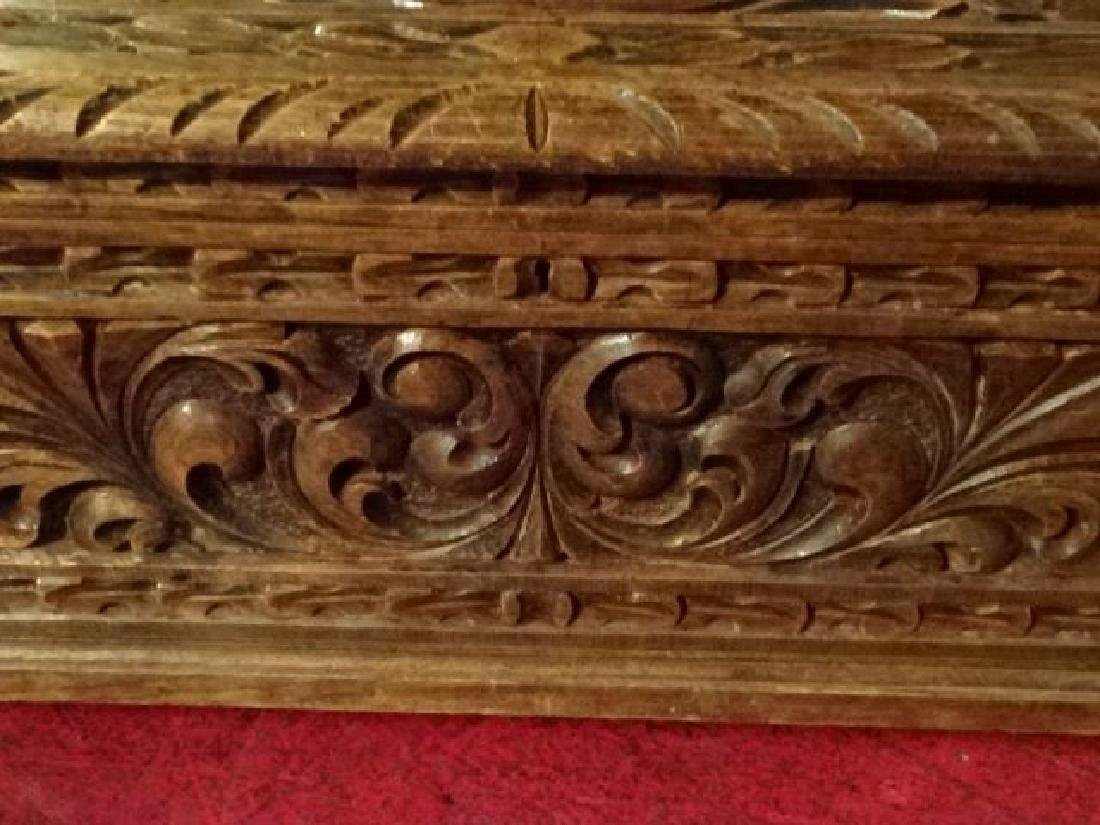 CARVED WOOD CHEST WITH KNIGHT'S ARMOR AND CARVED - 4
