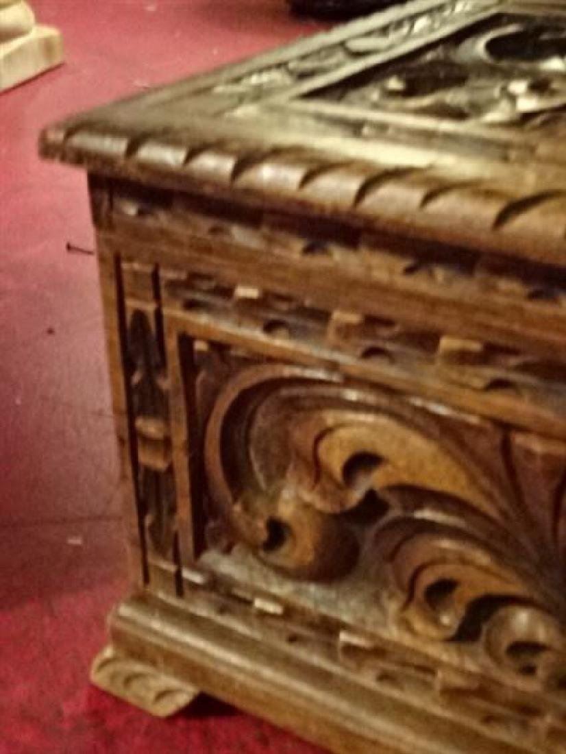 CARVED WOOD CHEST WITH KNIGHT'S ARMOR AND CARVED - 5