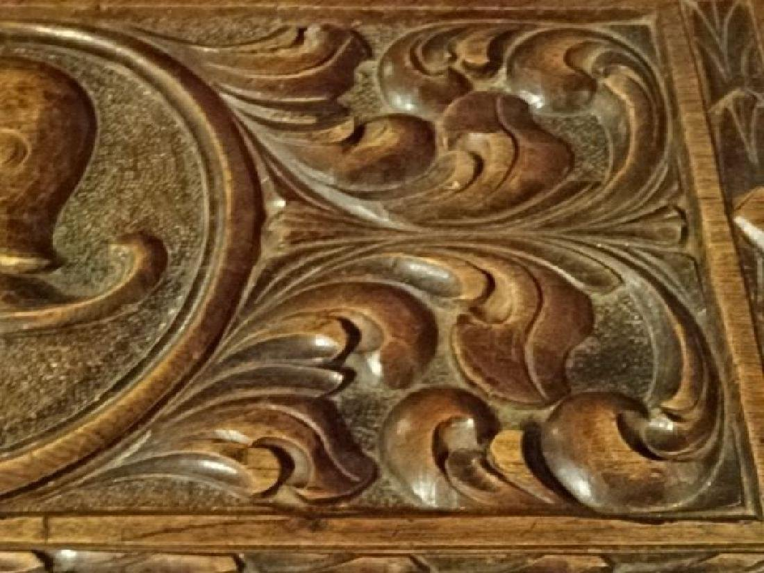 CARVED WOOD CHEST WITH KNIGHT'S ARMOR AND CARVED - 6
