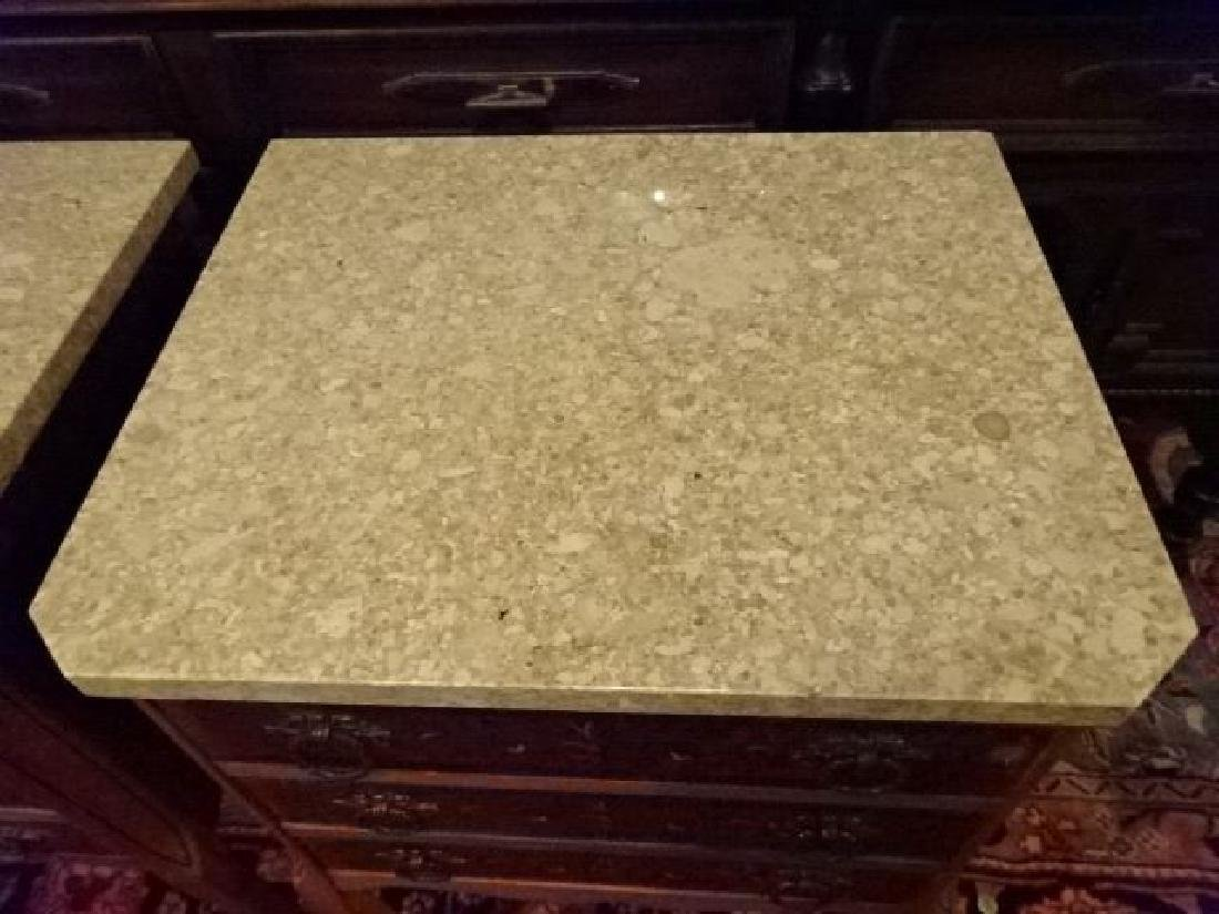 PAIR LOUIS XV STYLE SIDE TABLES, MARBLE TOPS, BRASS - 6