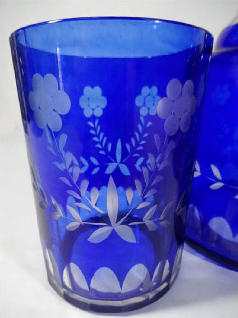 TWO 2 PC ETCHED GLASS DECANTERS WITH TUMBLERS, COBALT - 3