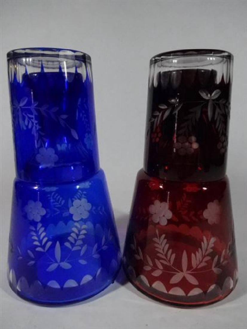 TWO 2 PC ETCHED GLASS DECANTERS WITH TUMBLERS, COBALT - 4