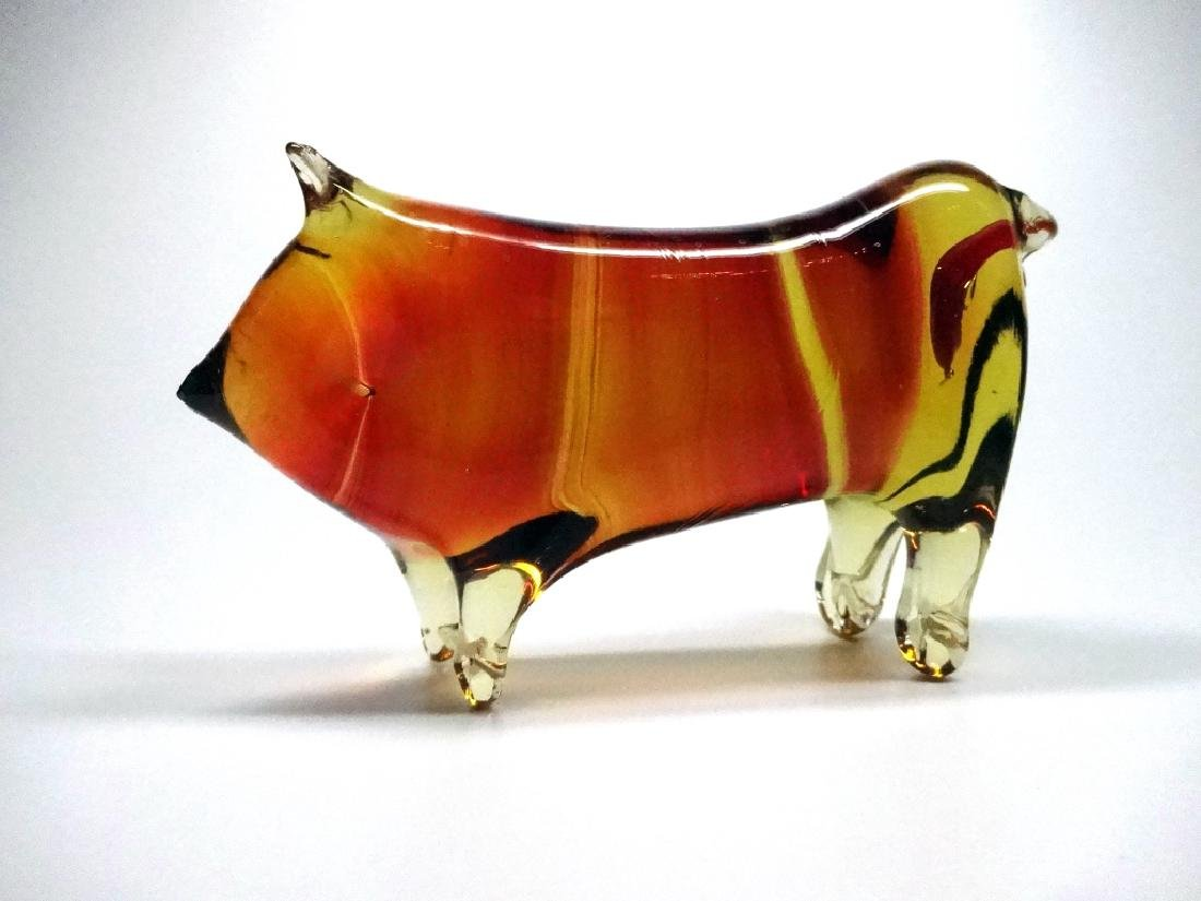 MURANO ART GLASS BULL FIGURINE, AMBER & CLEAR,