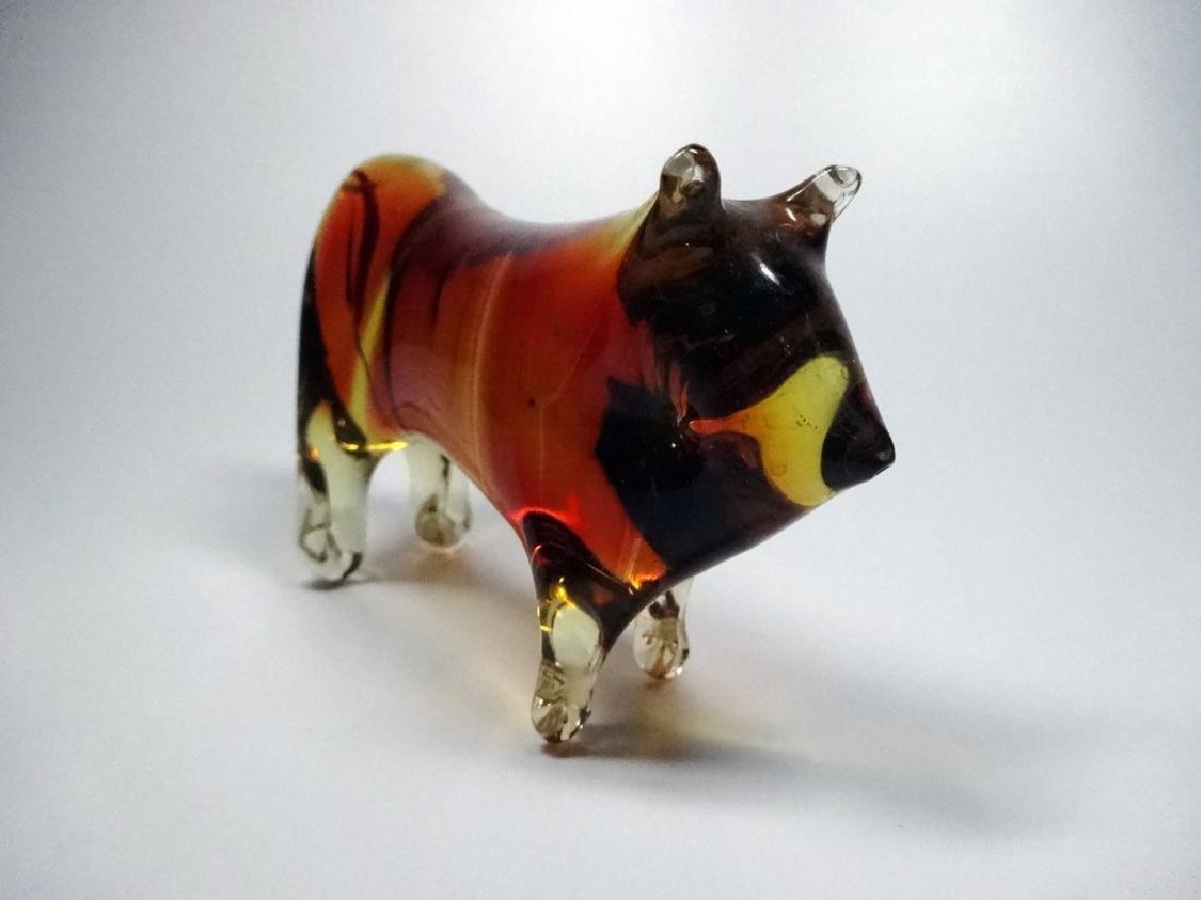 MURANO ART GLASS BULL FIGURINE, AMBER & CLEAR, - 5