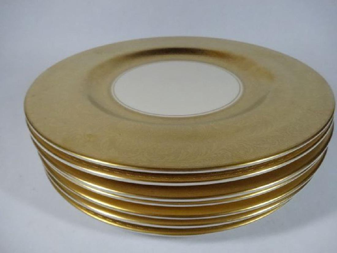 8 VINTAGE PICKARD PORCELAIN PLATES, GOLD AND WHITE,
