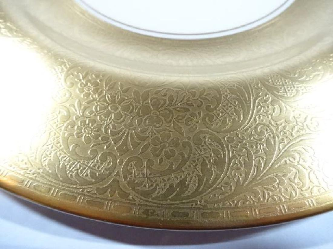 8 VINTAGE PICKARD PORCELAIN PLATES, GOLD AND WHITE, - 3