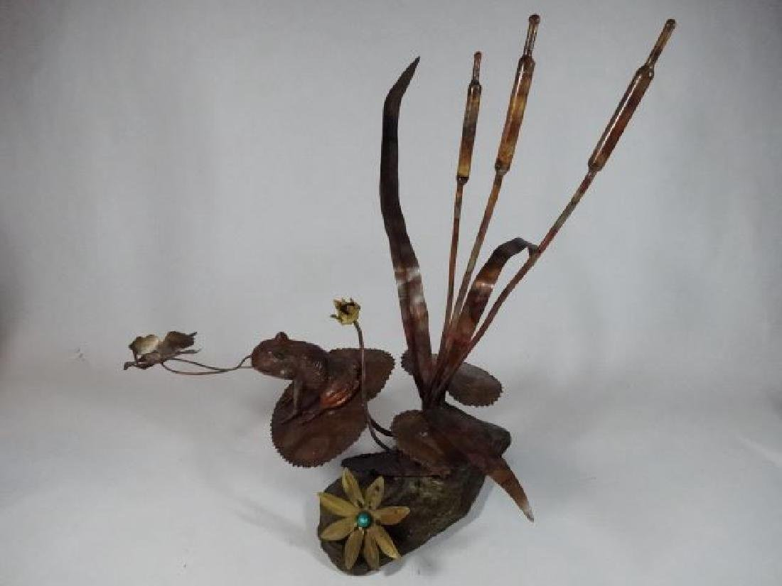 COPPER AND STONE FROG AND CATTAIL SCULPTURE, VERY GOOD