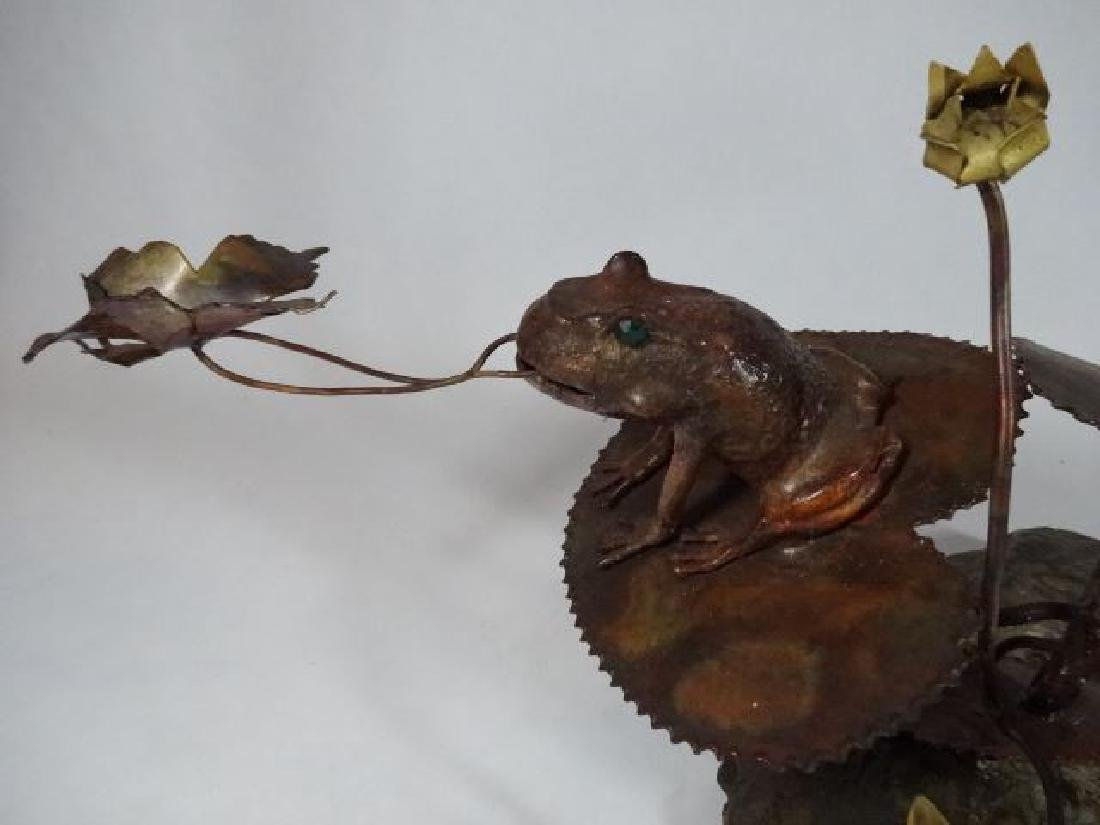 COPPER AND STONE FROG AND CATTAIL SCULPTURE, VERY GOOD - 3