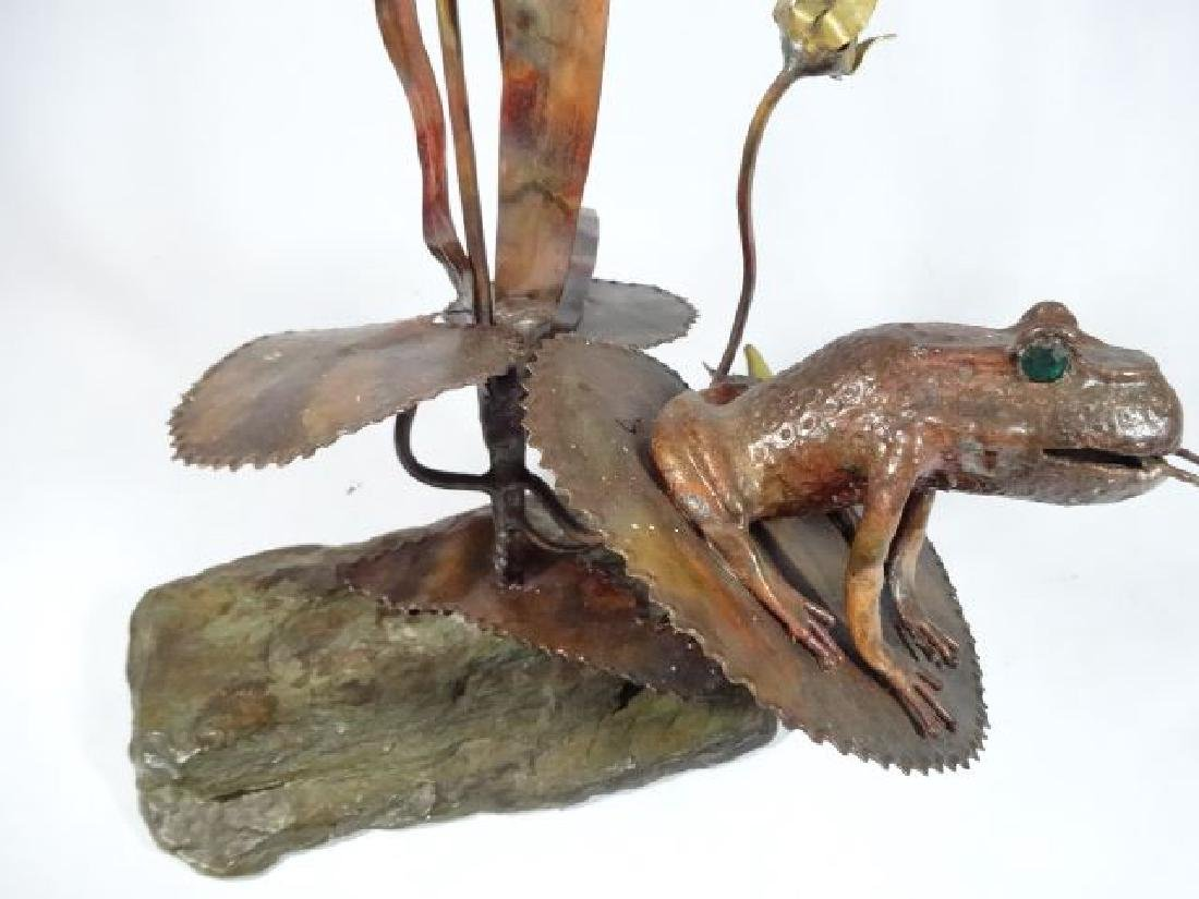 COPPER AND STONE FROG AND CATTAIL SCULPTURE, VERY GOOD - 5