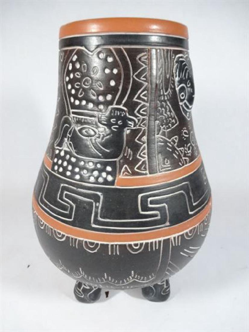 MEXICAN ART POTTERY VASE, INCISED ANIMALS AND DESIGNS,