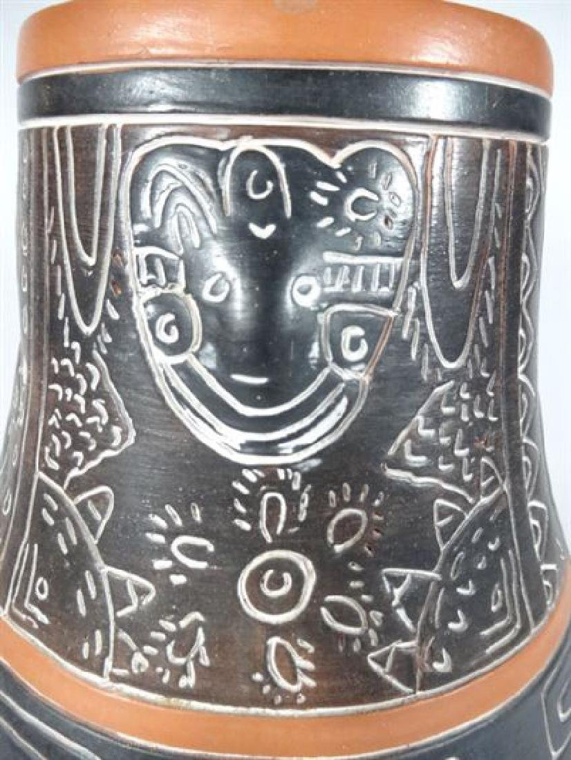 MEXICAN ART POTTERY VASE, INCISED ANIMALS AND DESIGNS, - 3