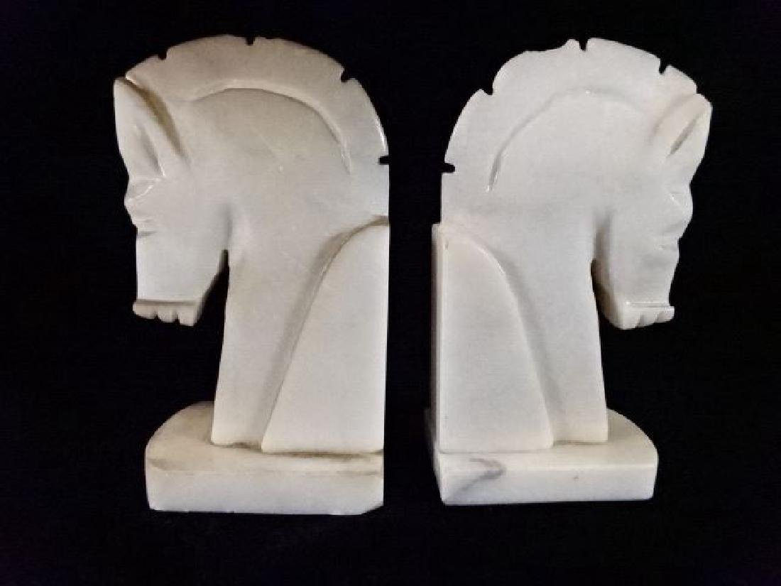 PAIR WHITE MARBLE HORSE HEAD BOOKENDS, GOOD VINTAGE